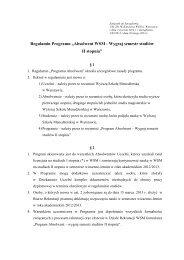 "Regulamin Programu ""Absolwent WSM - Wygraj semestr studiów II ..."