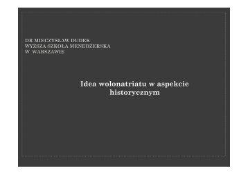 Idea wolonatriatu w aspekcie historycznym - Wyższa Szkoła ...