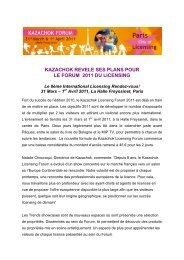 kazachok revele ses plans pour le forum 2011 du licensing