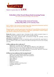 Pre-schedule of the French Kazachok Licensing Forum