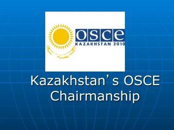 Kazakhstan's OSCE Chairmanship