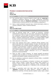 Podmínky k osobním kreditním kartám - Komerční banka