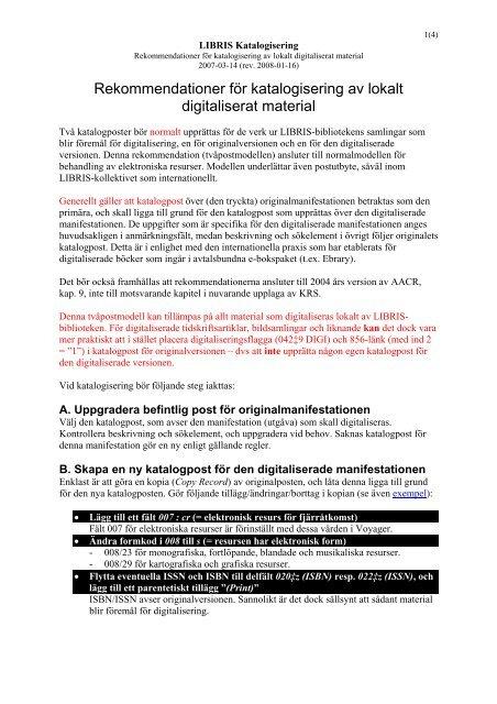 Rekommendationer för katalogisering av lokalt digitaliserat material