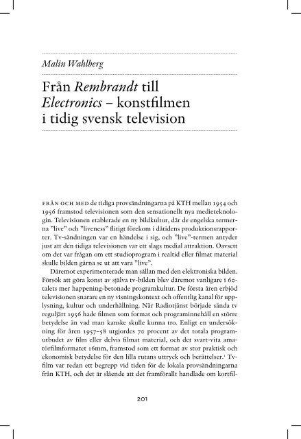 Från Rembrandt till Electronics – konstfilmen i tidig svensk television