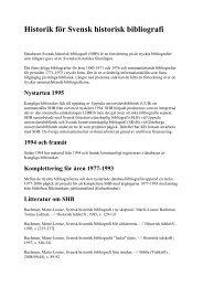 Historik för Svensk historisk bibliografi - Kungliga biblioteket