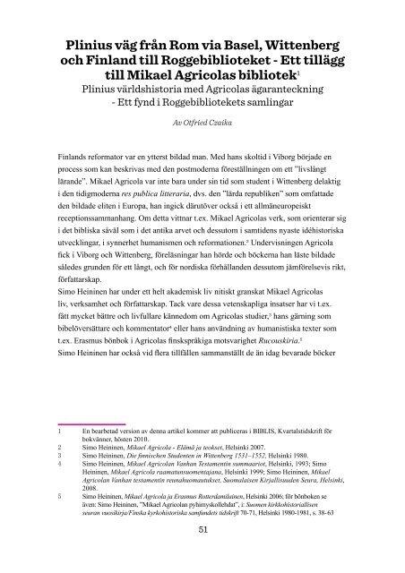 Plinius väg från Rom via Basel, Wittenberg och Finland till ...