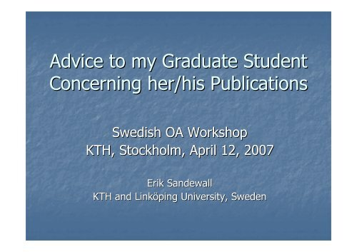 Advice to my Graduate Student Concerning her/his Publications