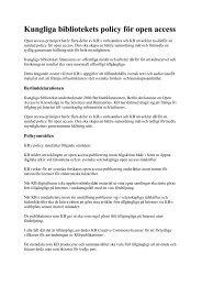 Kungliga bibliotekets policy för open access