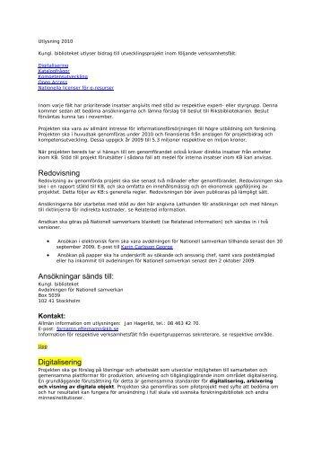 Redovisning Ansökningar sänds till: Digitalisering