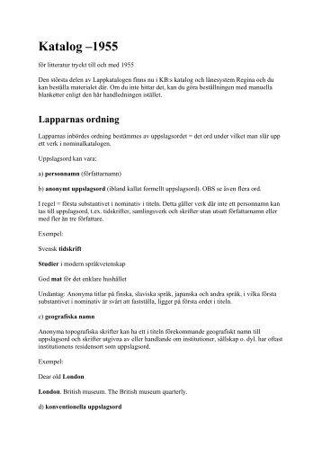 Handledning Katalog -1955 (Plåten)