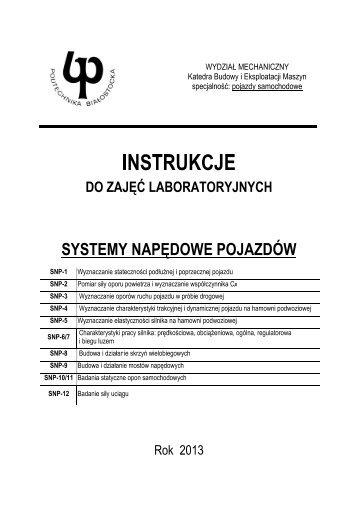 Komplet instrukcji-pobierz - Katedra Budowy i Eksploatacji Maszyn ...