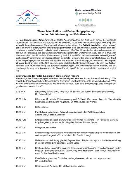 Therapieindikation und Behandlungsplanung in der Frühförderung ...