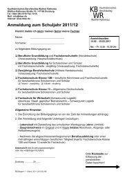 Anmeldung zum Schuljahr 2011/12 - Kaufmännisches Berufskolleg ...