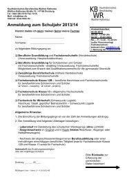 Anmeldeformular (pdf) - Kaufmännisches Berufskolleg Walther ...