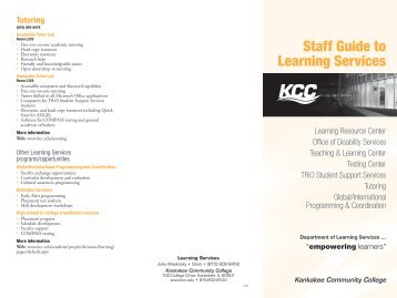 Staff Guide to Learning Services - Kankakee Community College