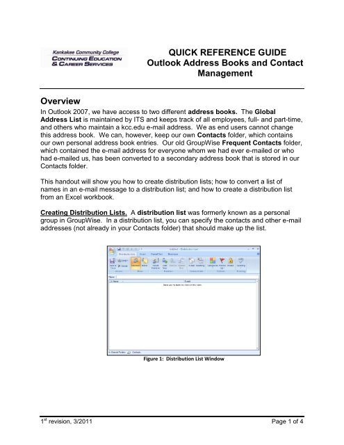 Outlook contact list
