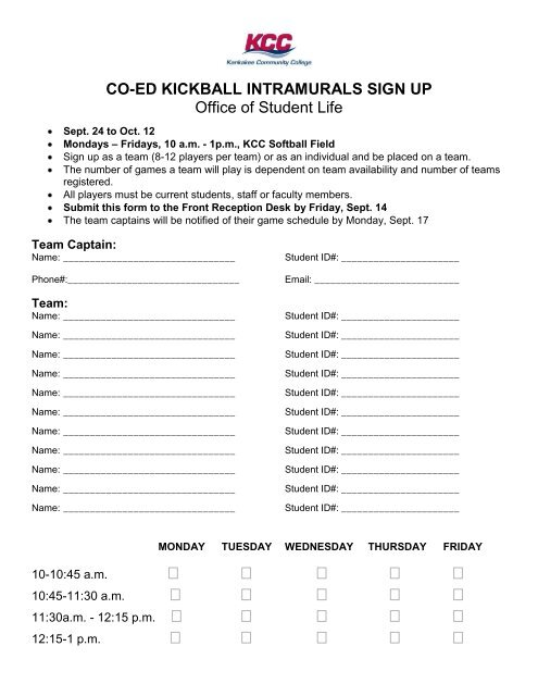 Co Ed Kickball Intramurals Sign Up Office Of Student Life