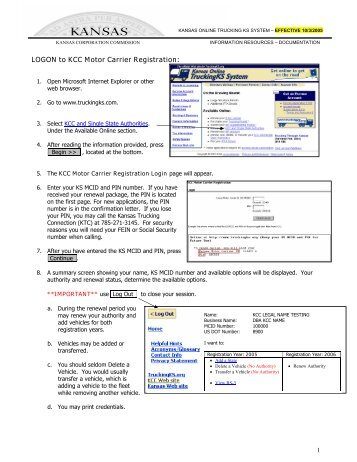 Common and contract carrier tariff regulations kansas for Motor carrier certificate of registration