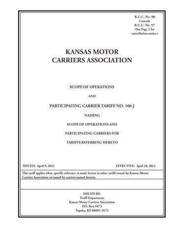 kansas motor carriers association - Kansas Corporation Commission