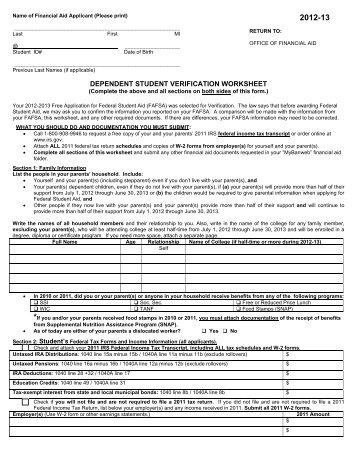 Dependent Verification Worksheet 12/13 - Nassau Community College