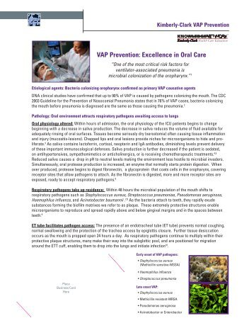 VAP Prevention: Excellence in Oral Care - Kimberly-Clark Health Care