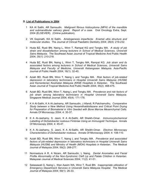 Annual Report of Research & Development (R&D) 2004