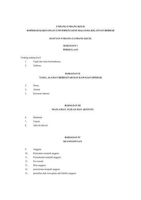 undang-undang kecil koperasi kakitangan universiti sains malaysia