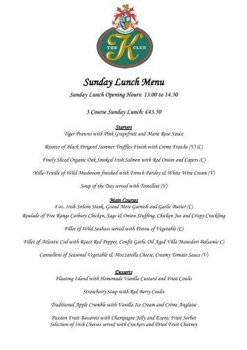 Sample Sunday Lunch Menu - K Club