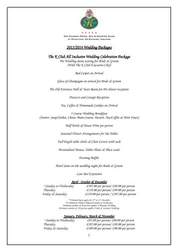 2013 2014 Wedding Packages The K Club All Inclusive