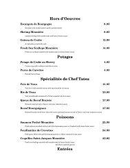 Hors d'Oeuvres Potages Spécialités de Chef Tatsu Poissons Entrées
