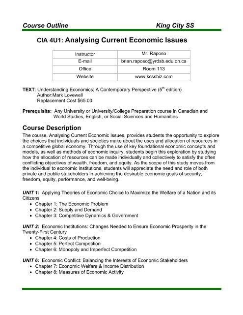 Course Syllabus (Outline)