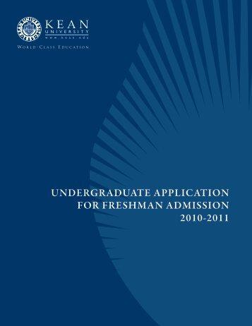 undergraduate application for freshman admission ... - Kean University