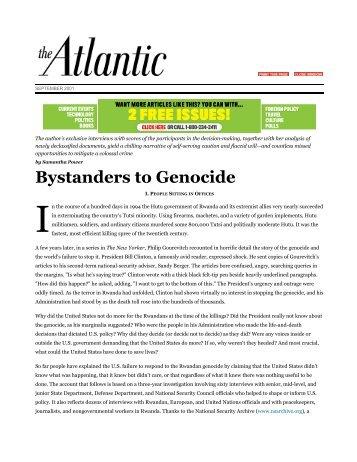 Bystanders to Genocide | Samantha Power - Kean University