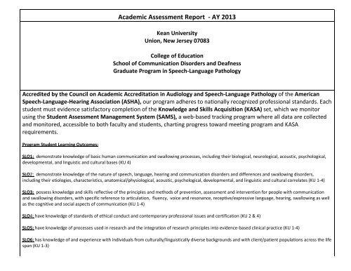 Kean University Academic Calendar.Academic Assessment Report Ay 2013 Kean University