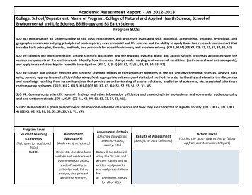 Academic Assessment Report -‐ AY 2012-‐2013 - Kean University