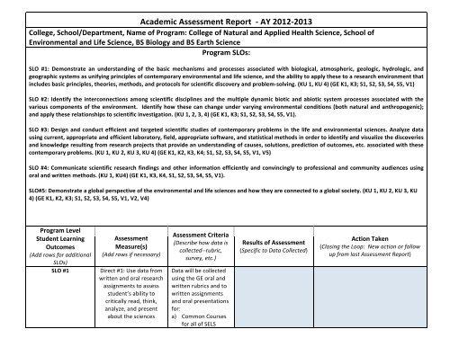 Kean University Academic Calendar.Academic Assessment Report A Ay 2012 A 2013 Kean University
