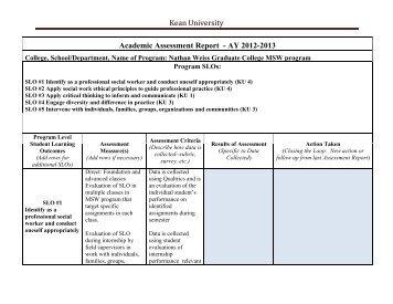 Kean University Academic Assessment Report - AY 2012-2013