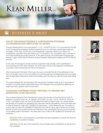 Business Notes, April 2011 - Kean Miller LLP