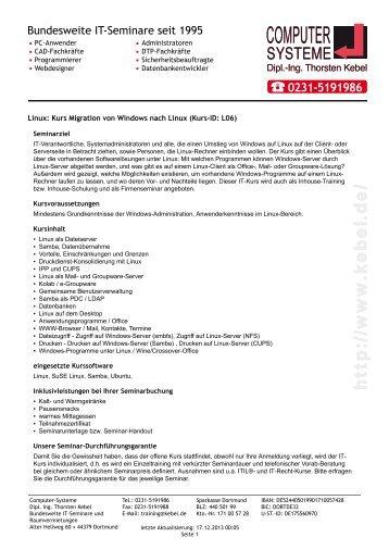 Linux - Kurs Migration von Windows nach Linux - Computer ...