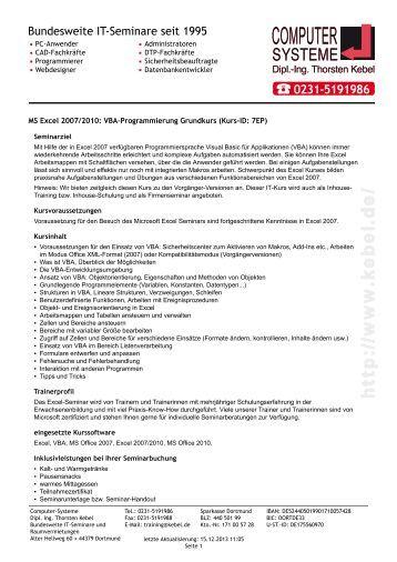 MS Excel 2007/2010 - VBA-Programmierung Grundkurs - Computer ...