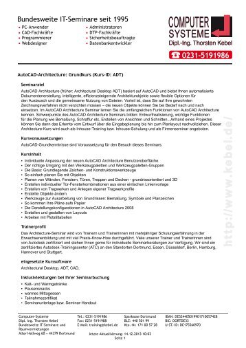 AutoCAD-Architecture - Grundkurs - Computer-Systeme Dipl.-Ing ...