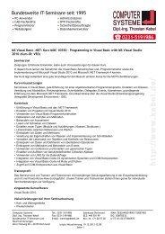 MS Visual Basic .NET - Kurs MOC 10550 - Computer-Systeme Dipl ...