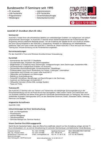 AutoCAD-LT - Grundkurs - Computer-Systeme Dipl.-Ing. Thorsten ...
