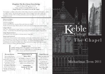Chapel Term Card - MT 2011 - Keble College