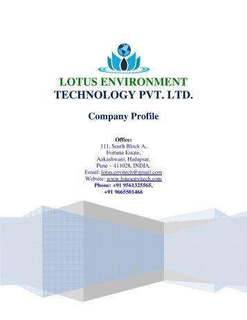LOTUS ENVIRONMENT TECHNOLOGY PVT. LTD. Company Profile