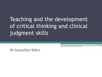 Teaching and the development of critical thinking ... - Keele University