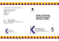 Guide to Claiming Disabled Students' Allowance ... - Keele University