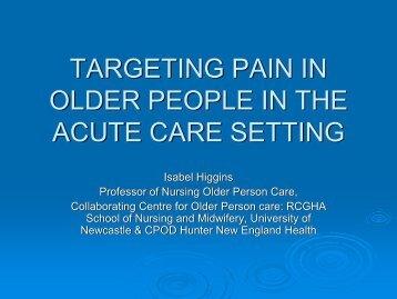 targeting pain in older people in the acute care ... - Keele University