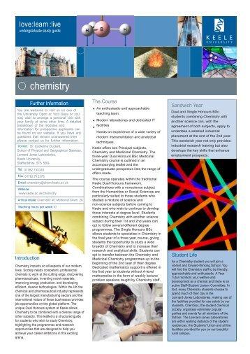 Chemistry leaflet - Keele University