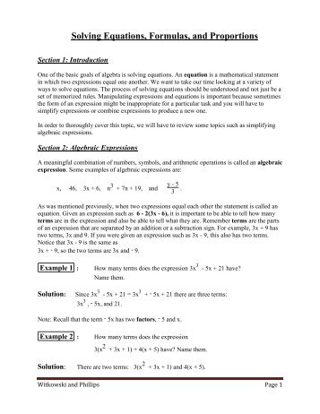 Solving Equations, Formulas, and Proportions
